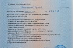 Сертификат Ирины Зеленцовой